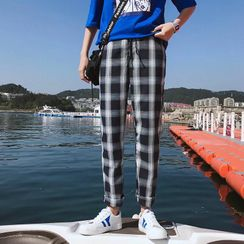 Cowpow - Drawstring Waist Plaid Tapered Pants