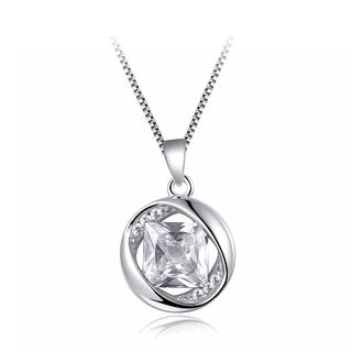 BELEC - 925 Sterling Silver April Birthday Stone Pendant with White Cubic Zircon and Necklace