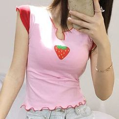 STARK - Strawberry Print Cap-Sleeve Top