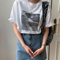 MERONGSHOP - Printed Loose-Fit T-Shirt