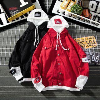 Cowpow - Applique Panel Button Hooded Jacket