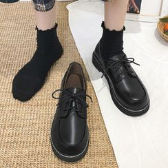 JIP - Faux Leather Lace-Up Loafers