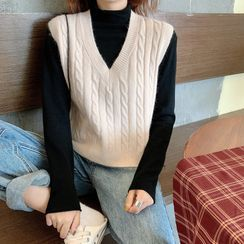 Cerauno - Plain Cable Knitted Vest/ Semi Turtle-Neck Plain Long-Sleeve Knitted Top
