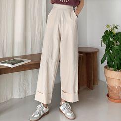 Envy Look - Band-Waist Cuffed-Hem Pants