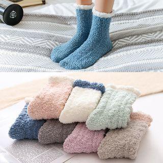 Shippo - Contrast-Trim Fuzzy Socks
