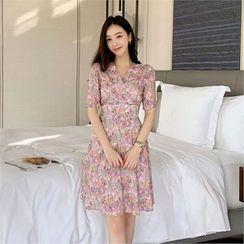Styleberry(スタイルベリー) - Tie-Waist Floral Print Dress