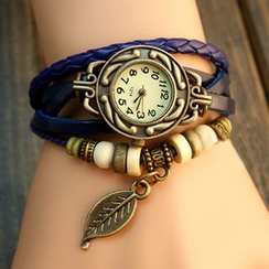 InShop Watches - Braided Genuine Leather Bracelet Watch