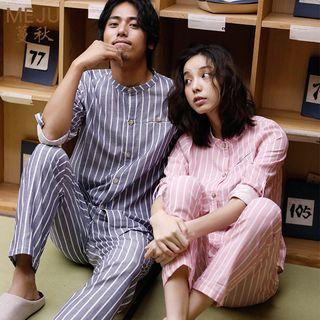MEJU - Couple Matching Striped Top + Pants
