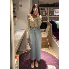 chuu - H-Line Maxi Denim Skirt