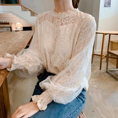 Minimince - Long-Sleeve Lace Blouse / Camisole Top