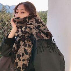 SOCOOL - 豹纹印花围巾