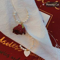 Princess Cat  - Faux Pearl Alloy Open Hoop Earring