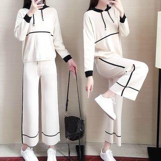 Gray House - 套装: 插色针织连帽衫 + 九分阔脚裤