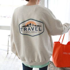 Seoul Fashion - 'TRAVEL' Printed Loose-Fit Sweatshirt