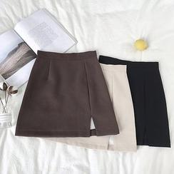 DIYI - 純色高腰A字半身裙