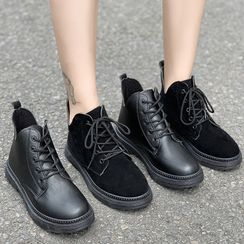 Yuki Yoru - Faux Leather Lace-Up Ankle Boots