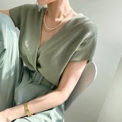 DABAGIRL - Wrap-Front Rib-Knit Top