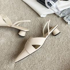 锦洋鞋业 - 尖头粗跟后跟带凉鞋