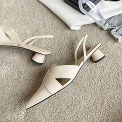 JY Shoes - Pointed Block-Heel Slingback Sandals