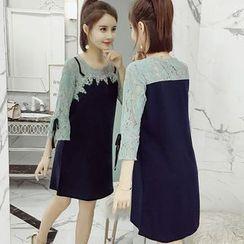 Rosehedge - Lace 3/4-Sleeve Panel A-line Dress
