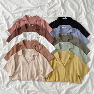 Miruku - Plain Short-Sleeve Blouse