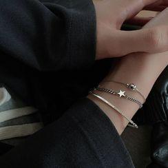 Metallique - Star / Smiley / Lettering Sterling Silver Bracelet
