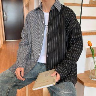 Rampo - 條紋拼接襯衫