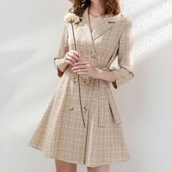KANF - Double-Breasted Plaid Mini A-Line Coat Dress