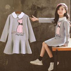 Cuckoo - Kids Long-Sleeve Cat Applique Collared Dress