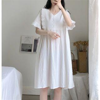 Gecko - Short-Sleeve Frill Trim A-Line Pajama Dress