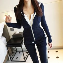 Femmetrix - Set: Zip Jacket + Striped Sweatpants