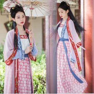 Tangier - Floral Embroidered Hanfu Costume Set