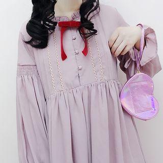 Tomoyo - Long-Sleeve Ribbon Neck A-Line Midi Dress