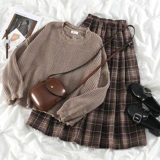 PUYE - Distressed Loose-Fit Sweater / Plaid Midi Skirt