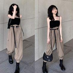 Alfie - 純色吊帶上衣 / 短袖襯衫 / 高腰工裝長褲