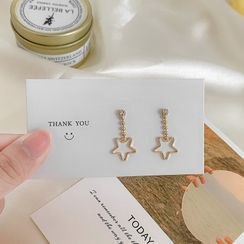 Gold Beam - Alloy Rhinestone Star Dangle Earring