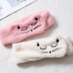 Popcorn - Embroidered Cat Face Wash Headband