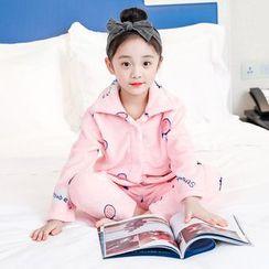 PAM - 小童睡衣套裝: 草莓圖案長袖上衣 + 褲子
