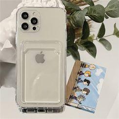 Fonekase - Transparent Card Holder Phone Case - iPhone 12 Pro Max / 12 Pro / 12 / 12 mini / 11 Pro Max / 11 Pro / 11 / SE / XS Max / XS / XR / X / SE 2 / 8 / 8 Plus / 7 / 7 Plus
