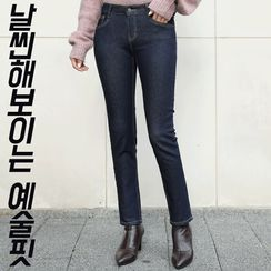 CLICK - Hidden Band-Waist Stitched Slim-Fit Jeans