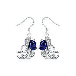 BELEC - 时尚优雅几何纹理蓝色锆石耳环