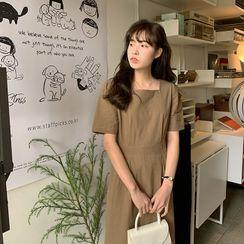FROMBEGINNING(フロムビギニング) - Square-Neck Linen Blend Dress