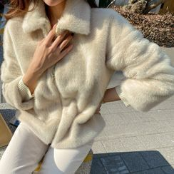 DABAGIRL - Collared Zipped Eco-Fur Jacket