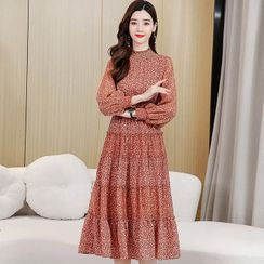 Romantica - Long-Sleeve Midi Floral A-Line Dress