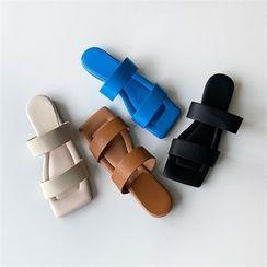 MONOBARBI(モノバービ) - Double-Strap Cushion Slide Sandals