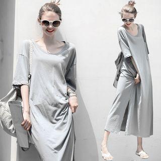 Oscuro - Elbow-Sleeve Maxi Sun Dress