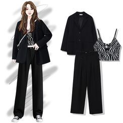 Pisang - Plain Oversize Blazer / Printed Zebra Cropped Tank Top / High-Waist Plain Wide Leg Pants