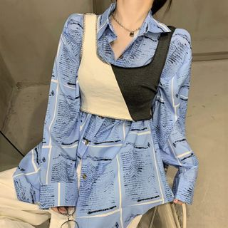 Rerise - 长袖印花衬衫 / 短款双色背心