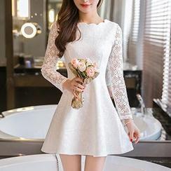 Ashlee - Long-Sleeve Scalloped Lace A-Line Dress