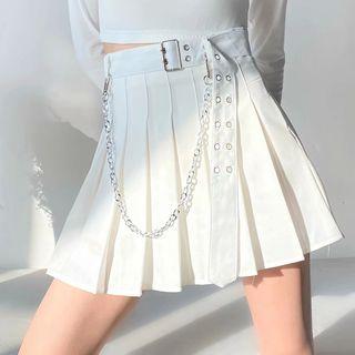 Opuscule - 扣帶飾褶迷你A字裙